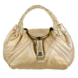 Fendi Gold Holographic Textured Spy Leather Bag